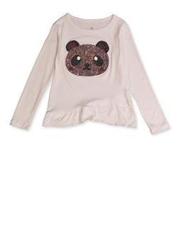 Girls 4-6x Sequin Panda Patch Tee - 3634075540093