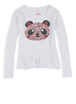 Girls 4-6x Ruffled Sequin Panda Tee - 3634075540102