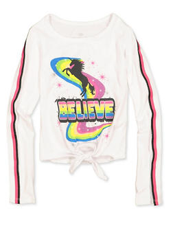 Girls 4-6x Believe Unicorn Tie Front Tee - 3634075540104