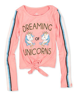 Girls 4-6x Tie Front Dreaming of Unicorns Tee - 3634075540105