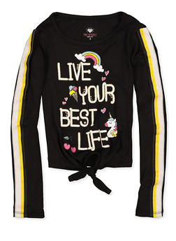 Girls 4-6x Live Your Best Life Graphic Tie Front Top - 3634075540106
