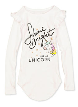 Girls 4-6x Shine Bright Like A Unicorn Tee | 3634075540110 - 3634075540110