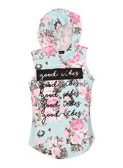 Girls 7-16 Floral Graphic Hooded Tank Top - 3635029890010