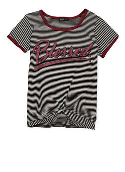 Girls 7-16 Striped Graphic Knot Front Tee - 3635029890011