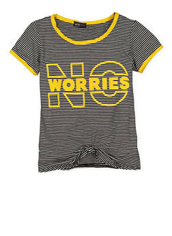Girls 7-16 Striped Graphic Knot Front Tee - 3635029890012