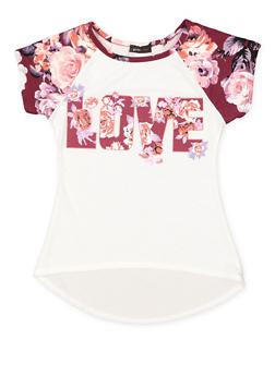 Girls 7-16 Love Graphic High Low Tee - 3635029890017