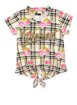 Girls 7-16 Blessed Graphic Tie Front Tee - 3635029890019