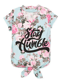 Girls 7-16 Floral Graphic Tie Front Top - 3635029890020