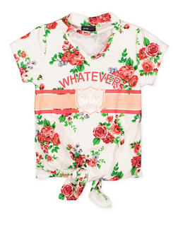 Girls 7-16 Floral Graphic Tie Front Top - 3635029890021