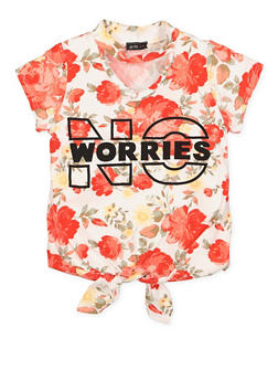 Girls 7-16 No Worries Graphic Tie Front Top - 3635029890023