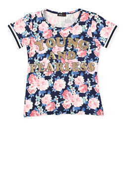 Girls 7-16 Glitter Graphic Floral Tee - 3635029890035