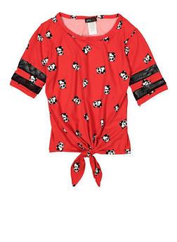 Girls 7-16 Panda Print Tie Front Tee - 3635029890040