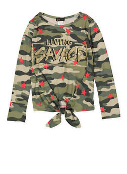 Girls 7-16 Living Savage Graphic Camo Tee - 3635029890045