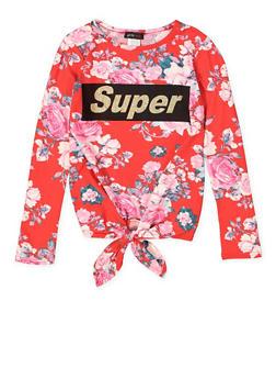 Girls 7-16 Graphic Tie Front Tee - 3635029890046