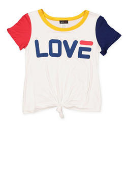 Girls 7-16 Graphic Knot Front Tee - 3635029890048