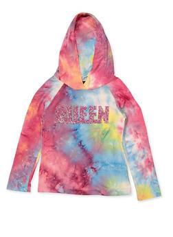 Girls 7-16 Queen Tie Dye Hooded Top - 3635029890429