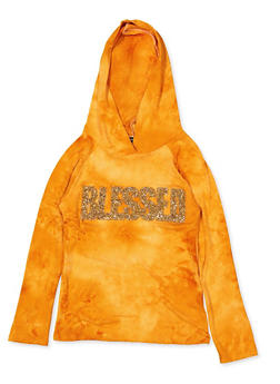 Girls 7-16 Blessed Tie Dye Hooded Top | Yellow - 3635029890430