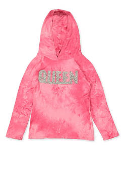 Girls 7-16 Queen Tie Dye Hooded Top | Pink - 3635029890433