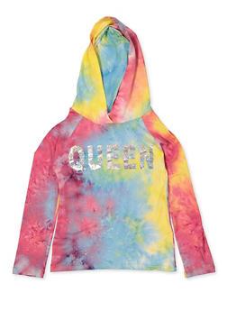 Girls 7-16 Queen Tie Dye Top - 3635029890436