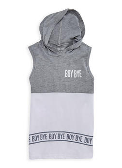 Girls 7-16 Boy Bye Graphic Top with Hood - 3635033870098