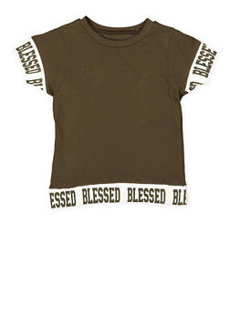 Girls 7-16 Blessed Graphic Trim Tee - 3635033870133