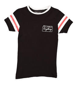 Girls 7-16 Graphic Striped Sleeve Tee - 3635033870151