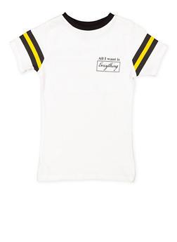 Girls 7-16 Graphic Striped Sleeve Tee - 3635033870151