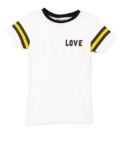 Girls 7-16 Love Graphic Striped Sleeve Tee - 3635033870152