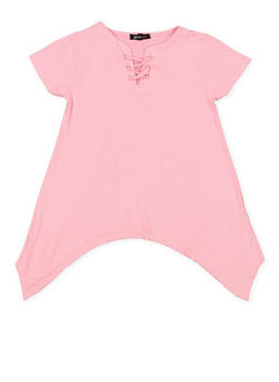 Girls 7-16 Lace Up Sharkbite Hem Top - 3635038340025