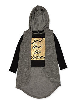 Girls 7-16 Just Livin the Dream Top with Hooded Knit Vest - 3635038340030