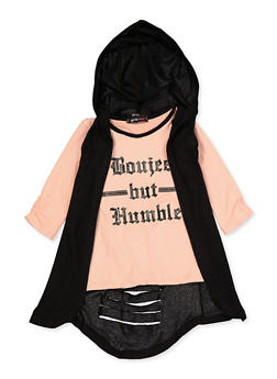 Girls 7-16 Boujee But Humble Tee and Hooded Duster - 3635038340033