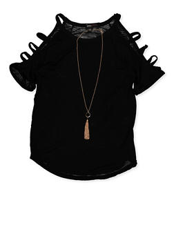 Girls 7-16 Caged Sleeve Top with Necklace - 3635038340045