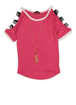 Girls 7-16 Love Elastic Caged Sleeve Top with Necklace - 3635038340048