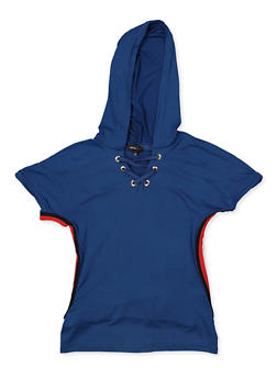 Girls 7-16 Lace Up Hooded Top - 3635038340049