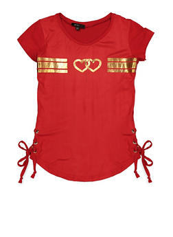 Girls 7-16 Double Heart Lace Up Top - 3635038340050