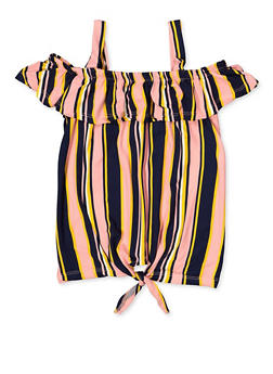 Girls 7-16 Striped Cold Shoulder Tie Front Top - 3635038340067