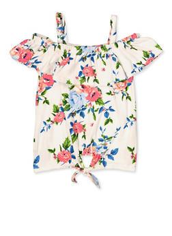 Girls 7-16 Floral Cold Shoulder Tie Front Top - 3635038340068