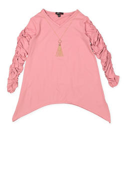 Girls 7-16 Ruched Long Sleeve Tee - 3635038349943