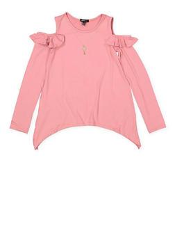 Girls 7-16 Cold Shoulder Long Sleeve Tee - 3635038349944