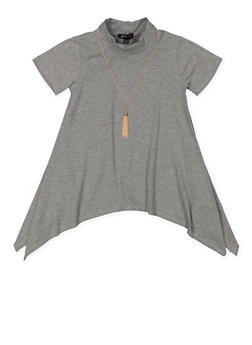 Girls 7-16 Asymmetrical Tunic Top with Necklace - 3635038349945