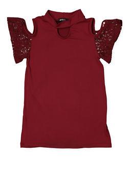 Girls 7-16 Lace Sleeve Cold Shoulder Top - 3635038349948