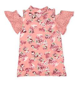 Girls 7-16 Floral Cold Shoulder Top - 3635038349955