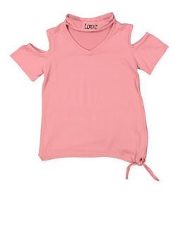 Girls 7-16 Graphic Keyhole Cold Shoulder Top - 3635038349957