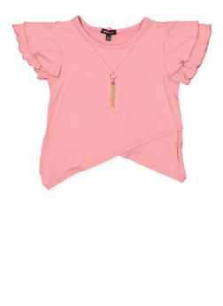 Girls 7-16 Asymmetrical Hem Top with Necklace - 3635038349958