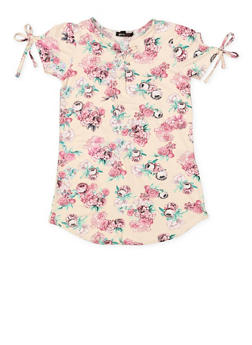 Girls 7-16 Floral Lace Up Top - 3635038349971