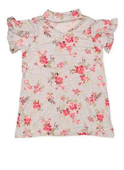 Girls 7-16 Floral Keyhole Top - 3635038349973