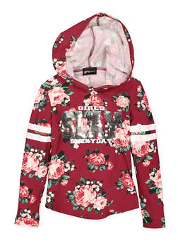 Girls 7-16 Floral Sequin Graphic Hooded Top - 3635051060003