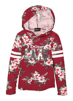 Girls 7-16 Floral Sequin Graphic Hooded Top - 3635051060006