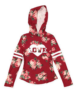 Girls 7-16 Hooded Graphic Floral Top - 3635051060021