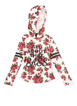 Girls 7-16 Graphic Floral Hooded Top - 3635051060025